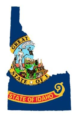 Idaho flag over map